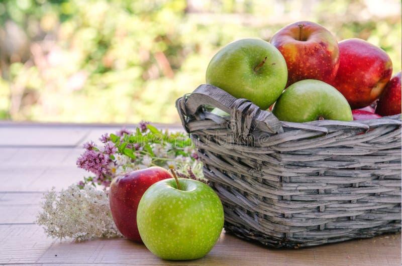 Korb mit frischem rotem und grünem Apfel stockbild