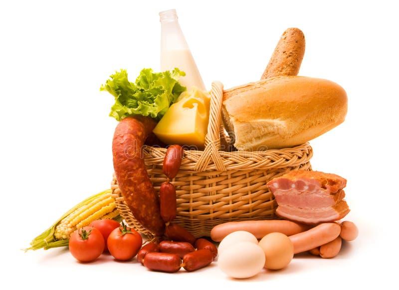 Korb mit Nahrung stockbild