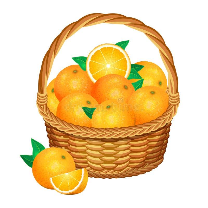 Korb mit Orangenfrüchten Auch im corel abgehobenen Betrag stock abbildung