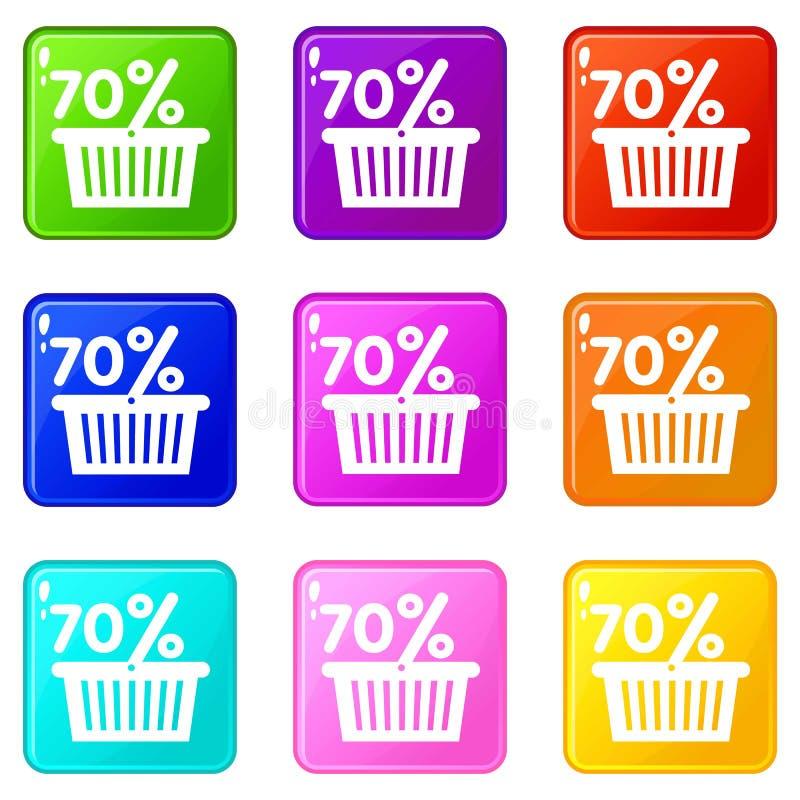 Korb siebzig-Prozent-Rabattikonen stellte die 9 Farbsammlung ein vektor abbildung