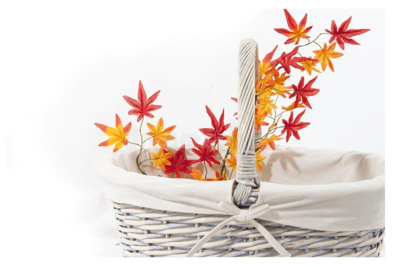 Korb- und Herbstblätter stockfoto