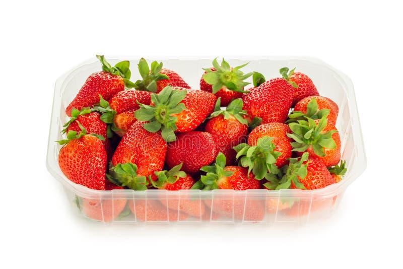 Korb von den frischen Erdbeeren lokalisiert auf einem weißen Hintergrund lizenzfreie stockfotografie