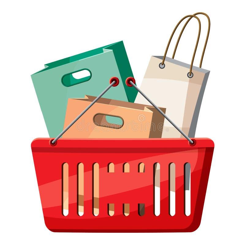 Korb von Einkaufstaschen Ikone, Karikaturart vektor abbildung