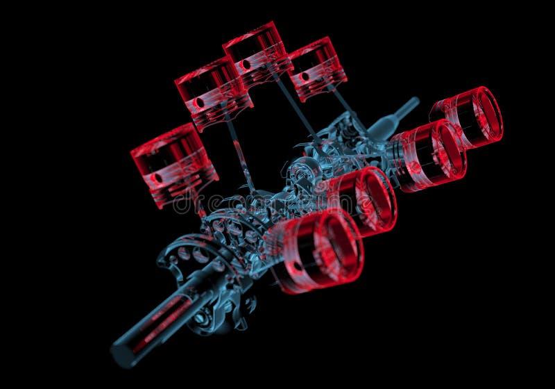 Korbowy dyszel z tłokami 3D xray czerwień i błękitny przejrzysty () ilustracja wektor