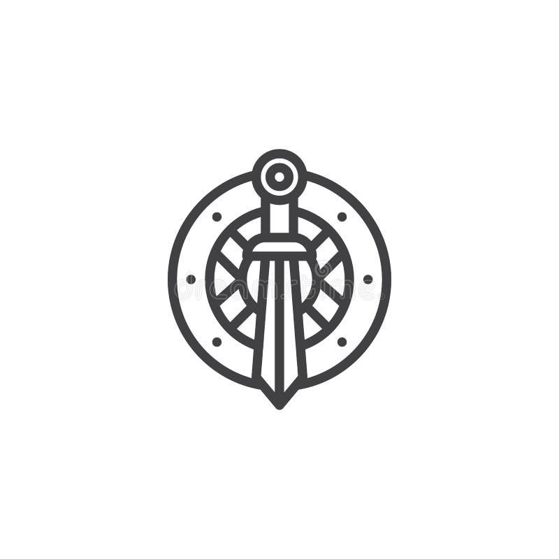 Kordzika i osłony konturu ikona royalty ilustracja