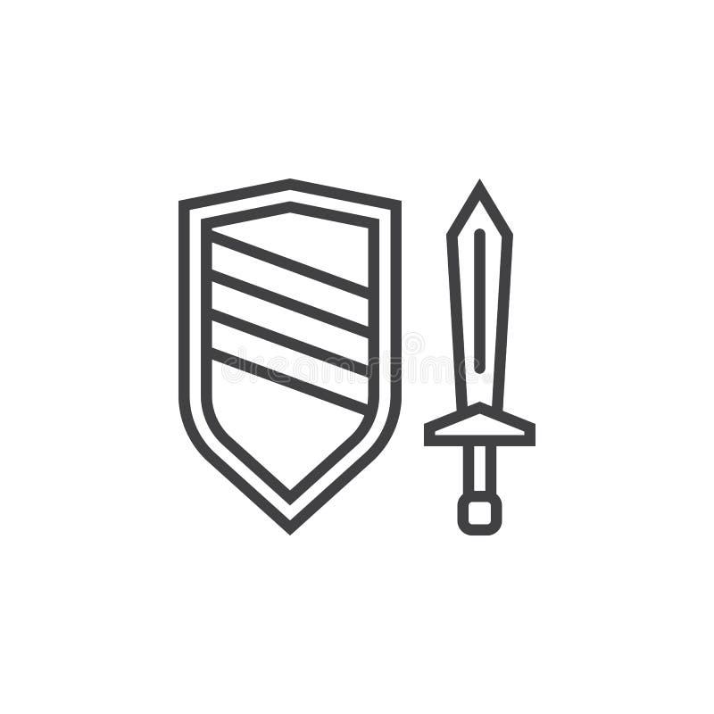 Kordzika i osłony kreskowa ikona, konturu wektoru znak, liniowy pictogra ilustracja wektor