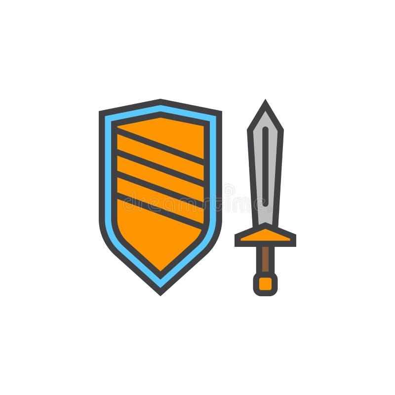 Kordzika i osłony kreskowa ikona, wypełniający konturu wektoru znak, liniowy ilustracji