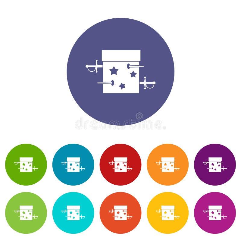 Kordzika pudełkowatego złudzenia ustalone ikony ilustracji