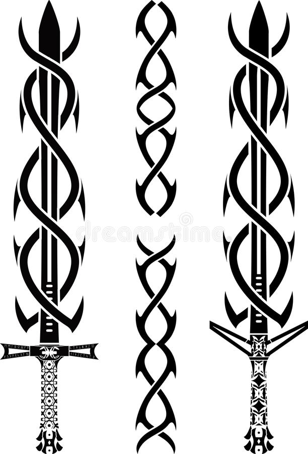 kordzika tatuaż royalty ilustracja