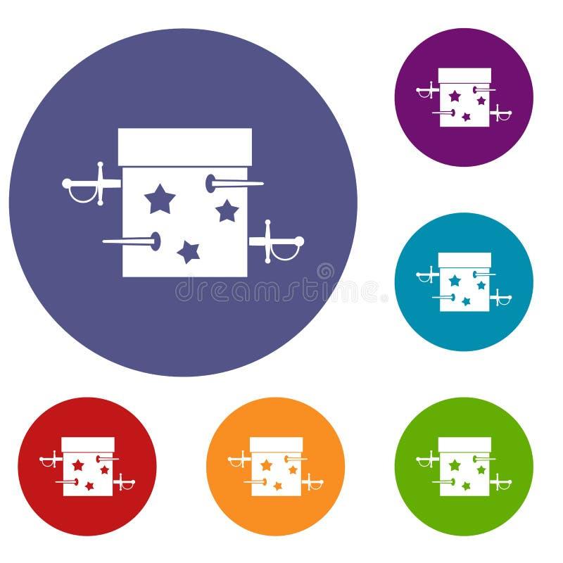 Kordzika złudzenia pudełkowate ikony ustawiać ilustracja wektor
