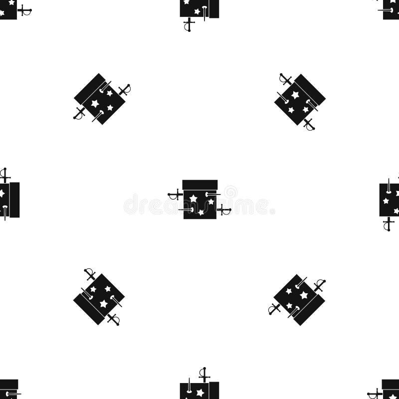 Kordzika złudzenia pudełkowatego wzoru bezszwowy czerń ilustracja wektor