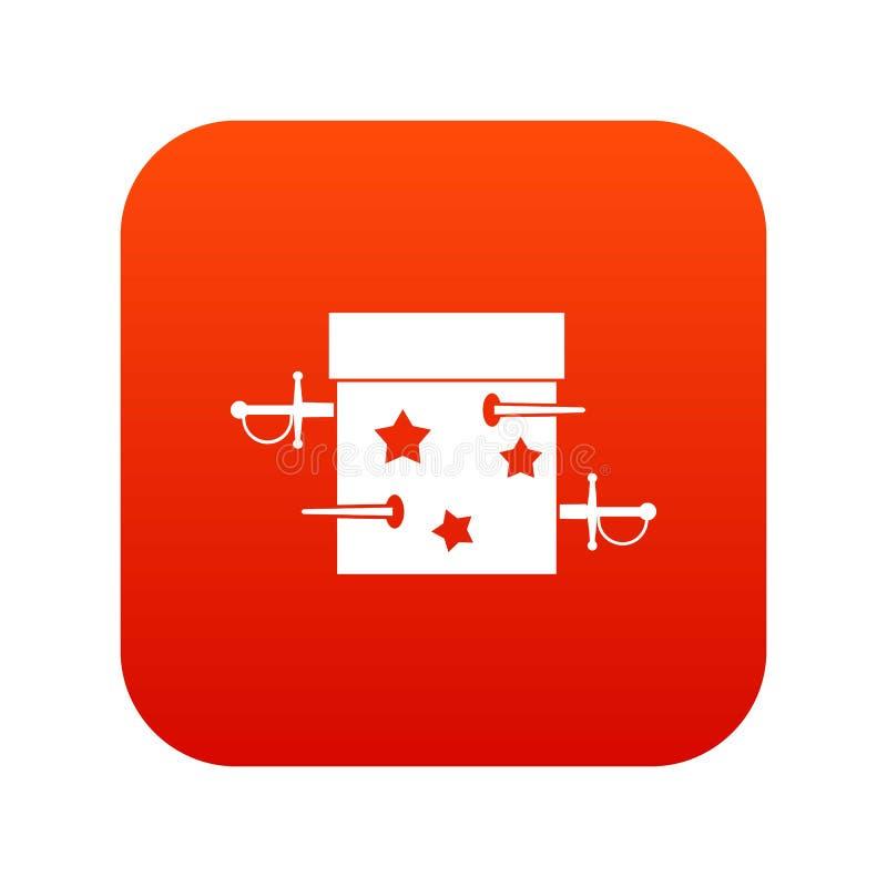 Kordzika złudzenia pudełkowatej ikony cyfrowa czerwień ilustracji