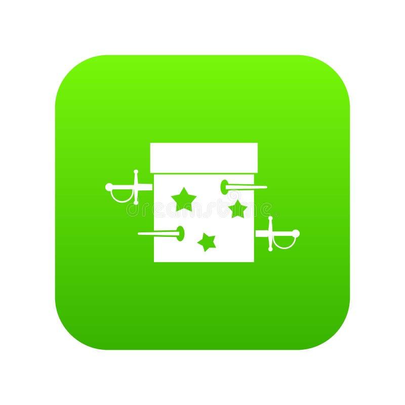 Kordzika złudzenia pudełkowatej ikony cyfrowa zieleń ilustracja wektor