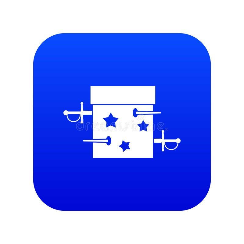 Kordzika złudzenia pudełkowatej ikony cyfrowy błękit ilustracja wektor