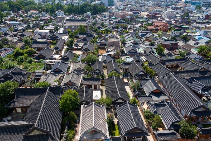 Koreańczyka pejzażu miejskiego Domowa historia Jeonju Korea obraz stock