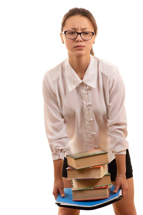 Koreańscy dziewczyna ucznia mienia podręczniki w rękach zdjęcie stock