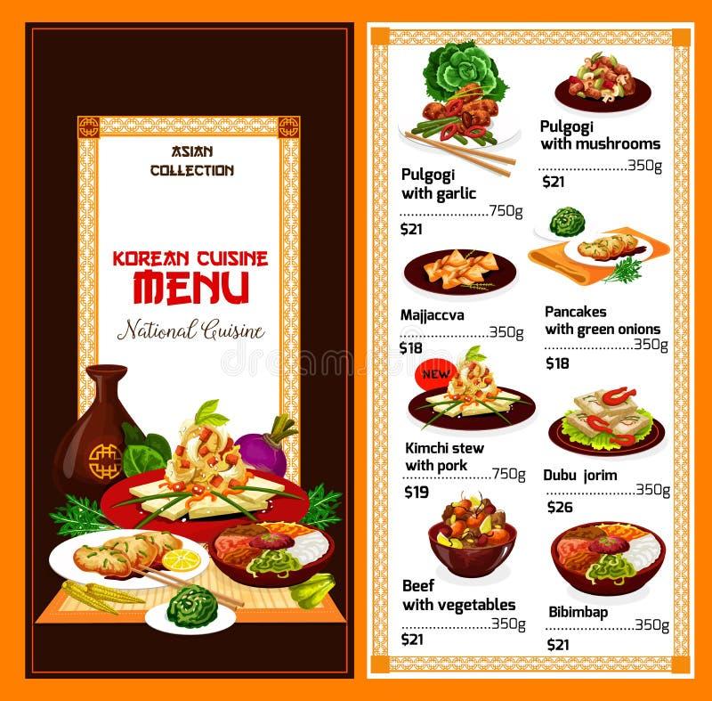 Koreańscy kuchni naczynia, wektorowy menu ilustracja wektor