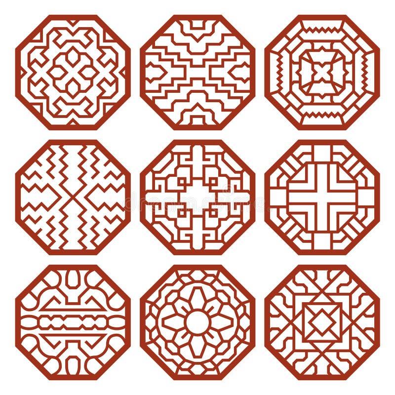 Koreańscy tradycyjni wektorów wzory, ornamenty ilustracji