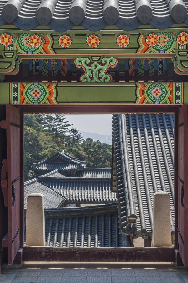 Koreańska architektura, drzwiowy wejście świątynia fotografia stock
