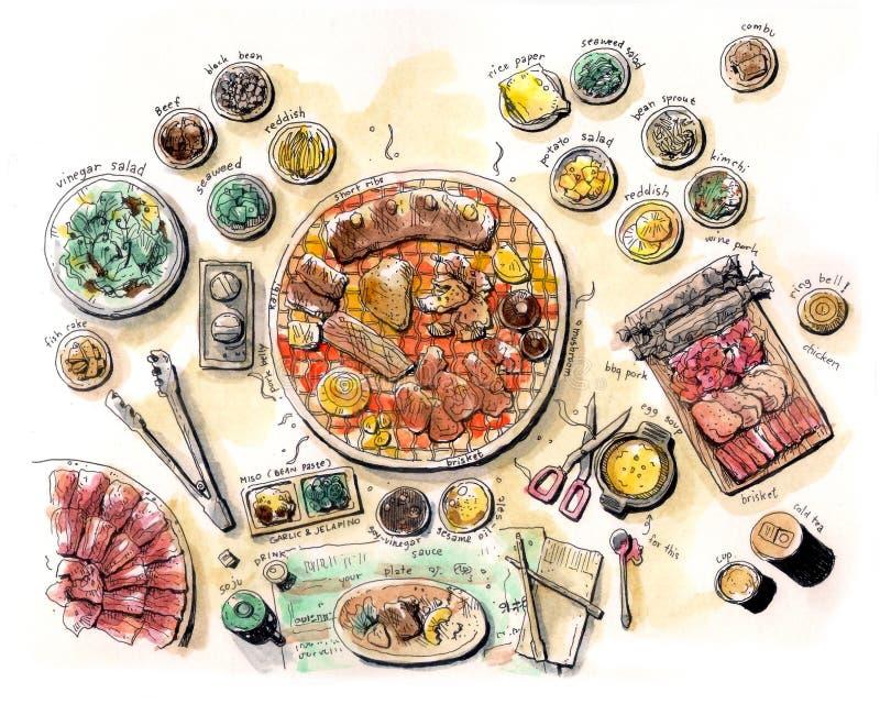 Koreański bbq ilustracyjny kolor royalty ilustracja