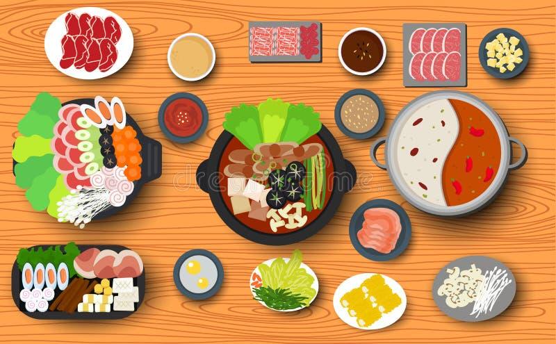 Koreański jedzenie na drewnianym stole royalty ilustracja