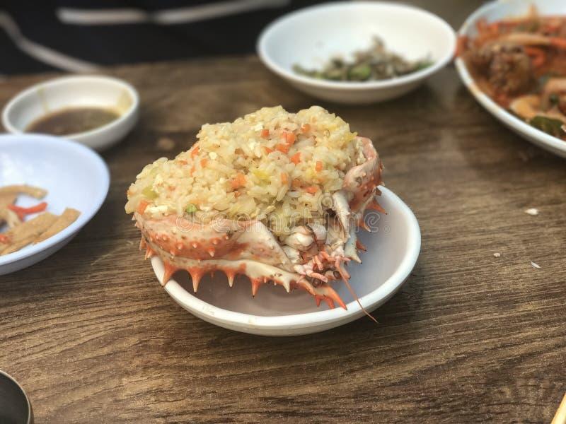 Koreański krab smażący ryż! zdjęcie stock
