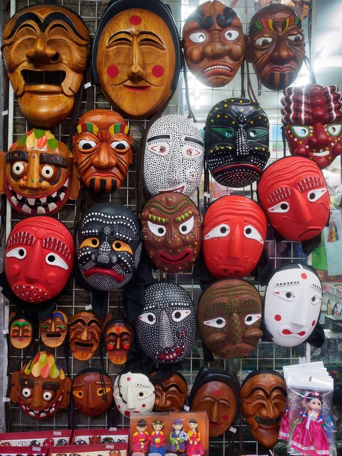Koreańskie drewniane maski zdjęcia royalty free
