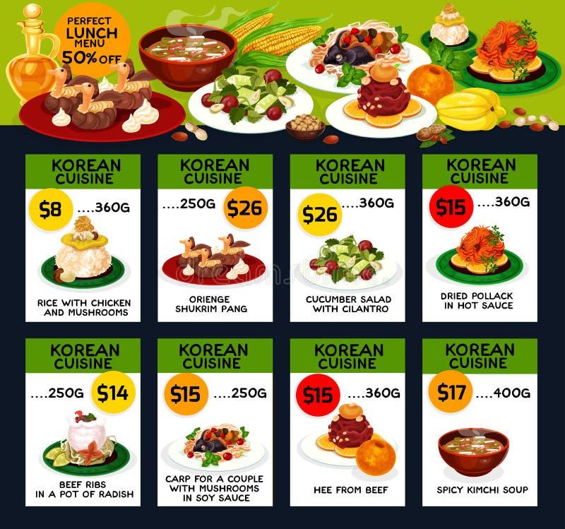 Koreańskiego kuchnia lunchu restauracyjnego menu karciany projekt ilustracji