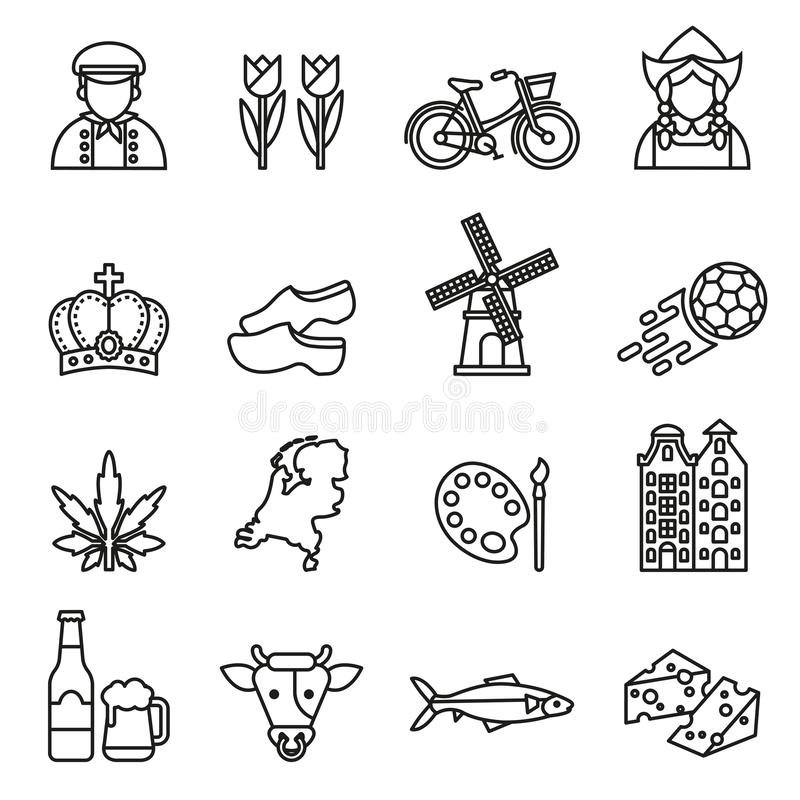 Netherlands symbols and dutch culture icons set. Line Style stock vector. Netherlands symbols and dutch culture icons set on white background. Line Style stock vector illustration