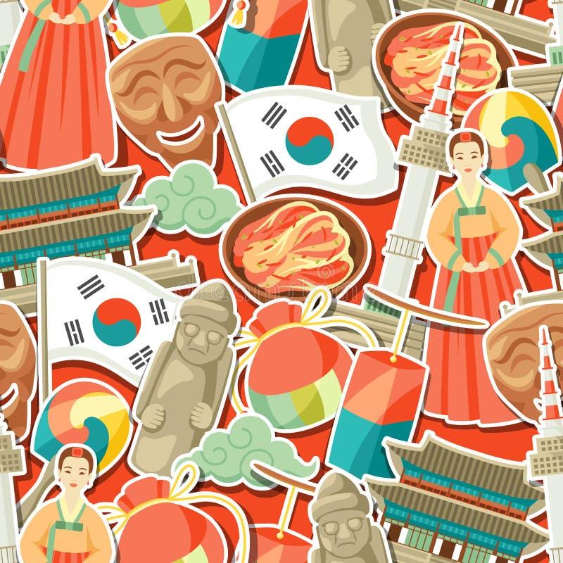 Korea bezszwowy wzór Koreańscy tradycyjni majcherów symbole, przedmioty i ilustracji