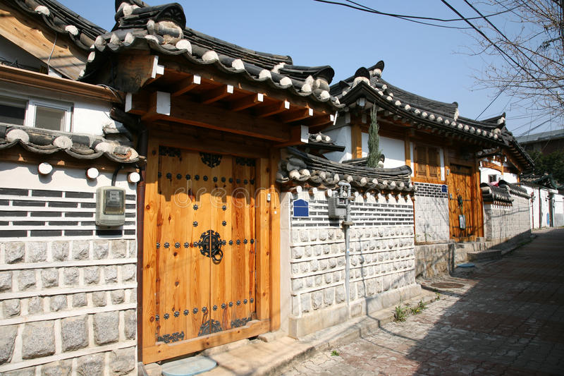 Korea Bukchon Hanok Village. Bukchon Hanok Village is one of the famous place for Korean traditional houses have been preserved stock photography
