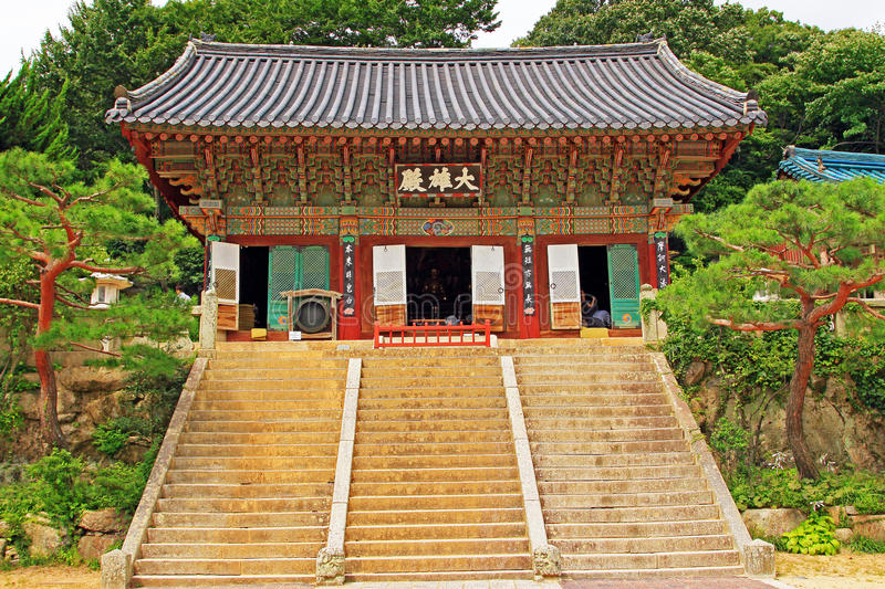 Korea Busan Beomeosa Temple. Beomeosa Temple is located at the edge of Mt. Geumjeongsan, a famous mountain in Busan. About 1,300 years ago it was constructed by royalty free stock photo