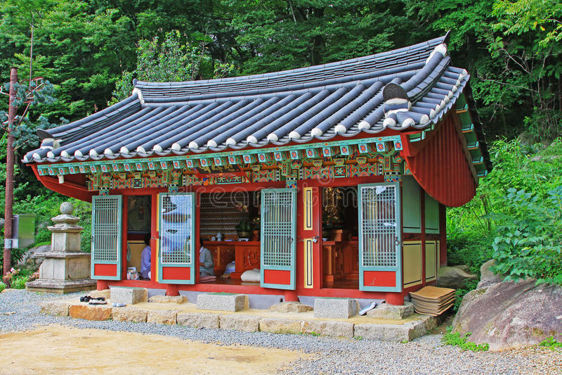 Korea Busan Beomeosa Temple. Beomeosa Temple is located at the edge of Mt. Geumjeongsan, a famous mountain in Busan. About 1,300 years ago it was constructed by stock photo
