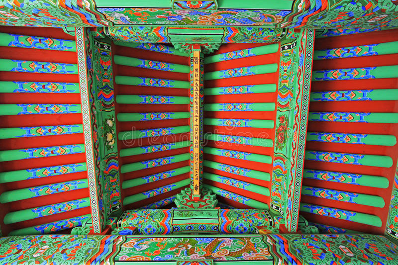 Korea Busan Beomeosa Temple Roof Beam. Beomeosa Temple is located at the edge of Mt. Geumjeongsan, a famous mountain in Busan. About 1,300 years ago it was stock images