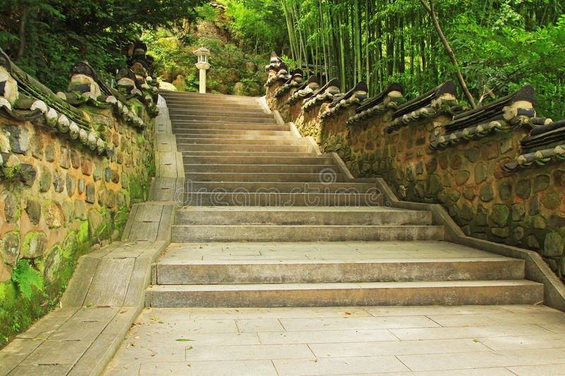 Korea Busan Beomeosa Temple Stair. Beomeosa Temple is located at the edge of Mt. Geumjeongsan, a famous mountain in Busan. About 1,300 years ago it was royalty free stock photo