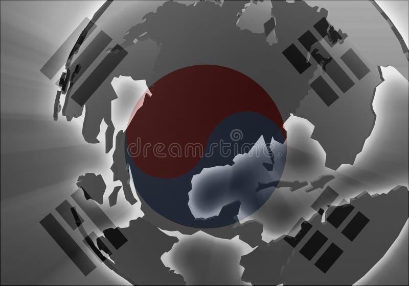 korea chorągwiani południe ilustracji