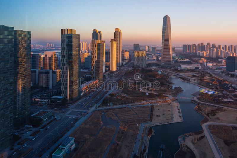 Korea city in sunset, Central park in Songdo District, Incheon. South Korea stock images