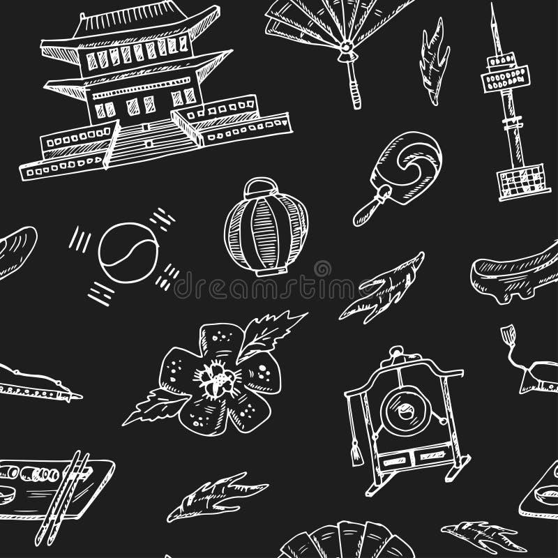 korea Croquis sans couture de modèle de griffonnage tiré par la main Illustration de vecteur pour le produit de conception et de  illustration libre de droits