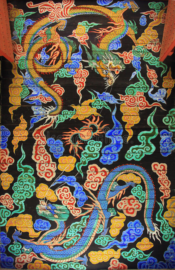 Korea Dragon Painting stockfotos