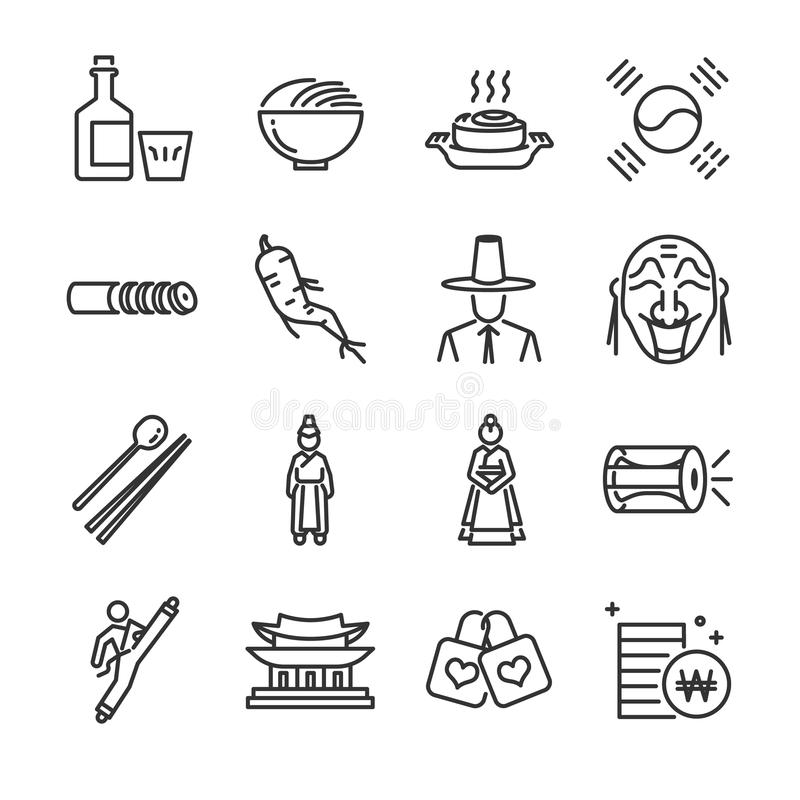 Korea icon set. Included the icons as kimchi, traditional, Korean costume, taekwondo, mask, currency and more. royalty free illustration