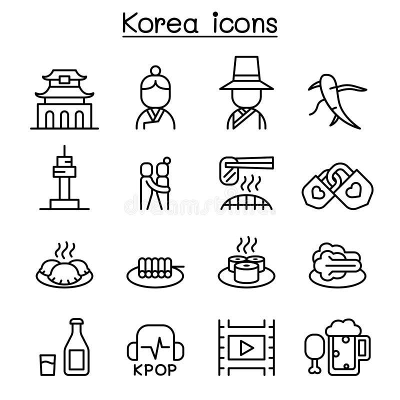 Korea ikona ustawiająca w cienkim kreskowym stylu royalty ilustracja