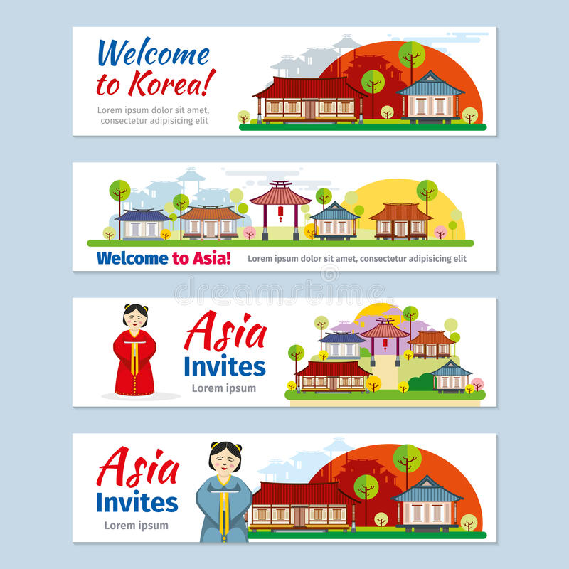 Korea, japan, thailand travel vector banners royalty free illustration
