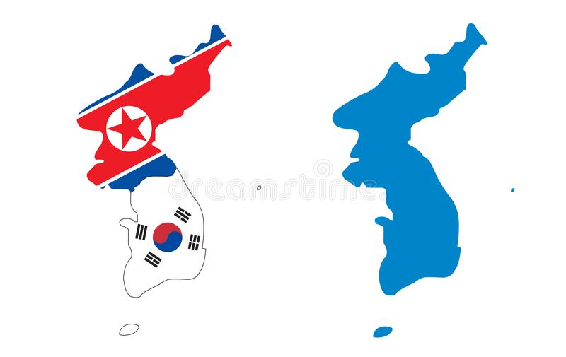 Korea map with flag north and south. Korea two map with flag north and south and blue vector illustration