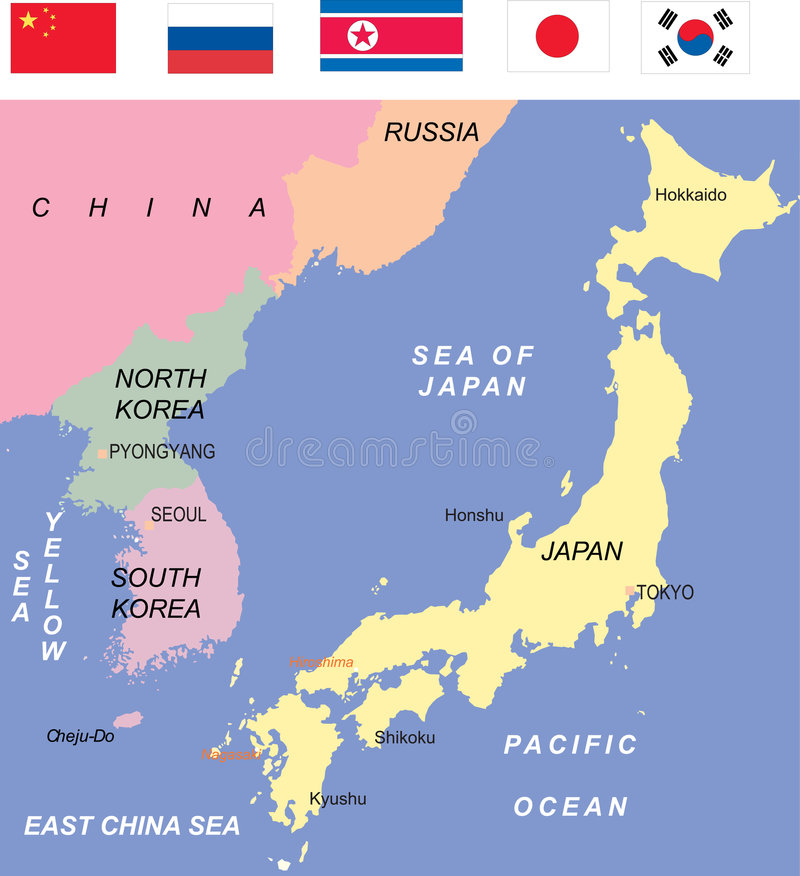 Korea Map Illustration. With various colors royalty free illustration