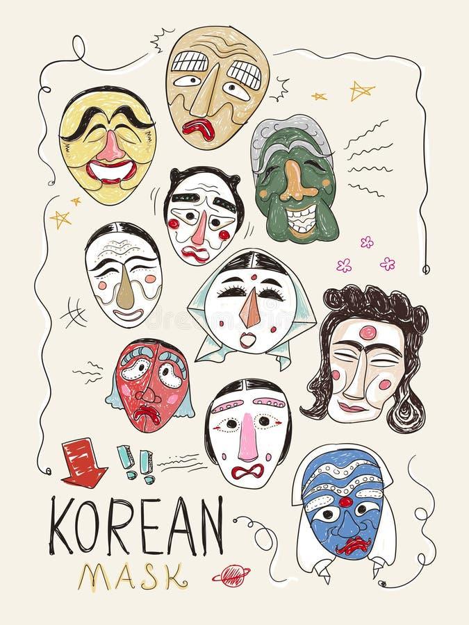 Korea maskeert inzameling royalty-vrije illustratie