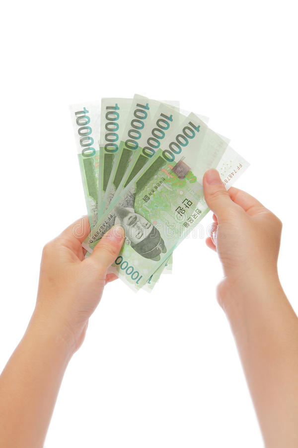 Korea money won and hand. For finance concept stock image
