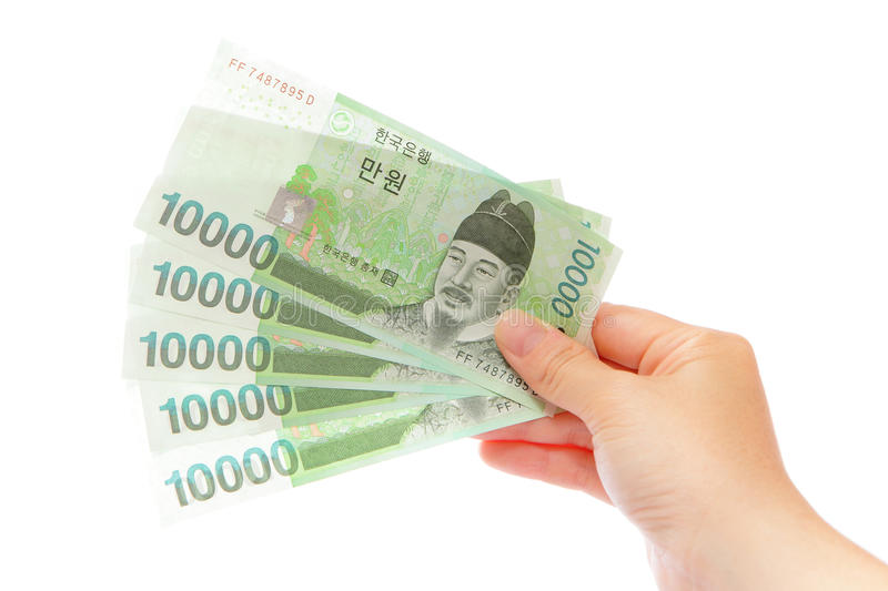 Korea money won and hand. For finance concept stock photography