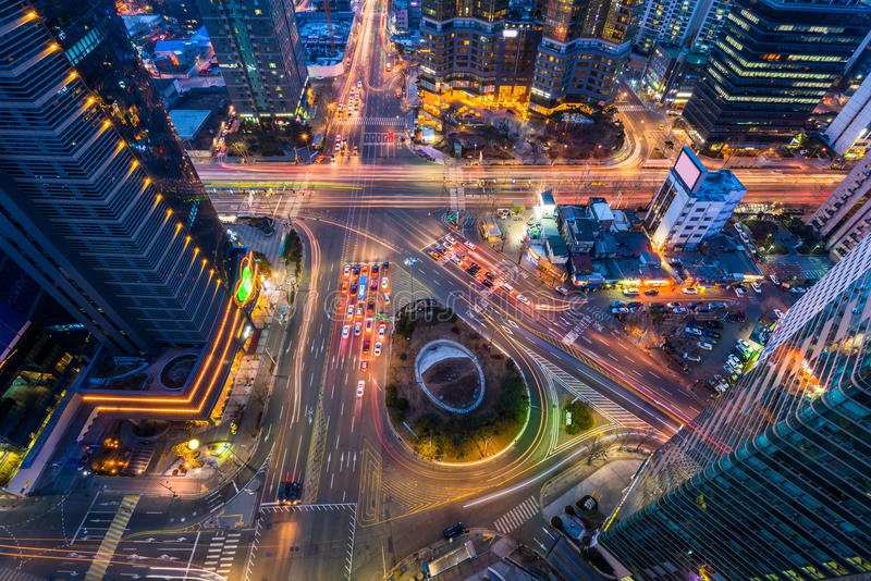 Korea,Night traffic speeds through an intersection in Seoul,Korea stock photos