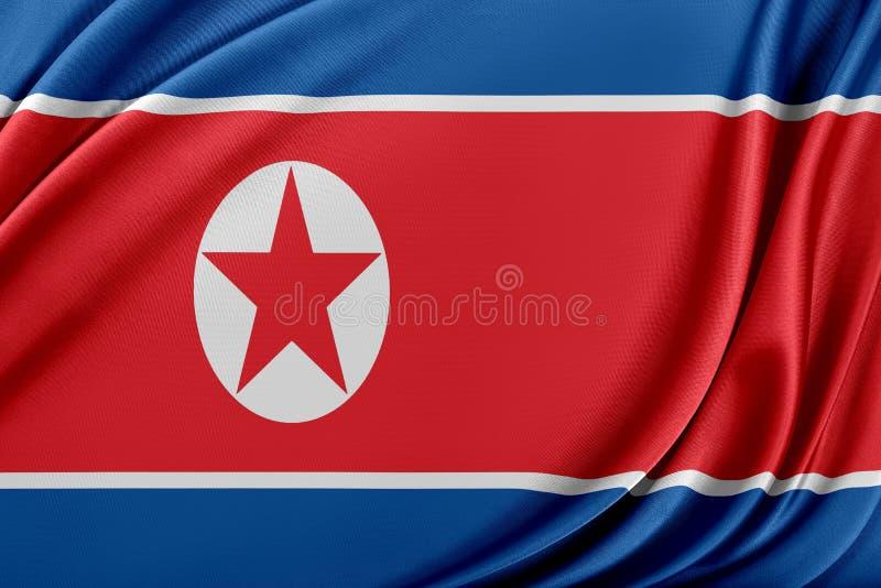 Korea norr flagga med en glansig siden- textur royaltyfri illustrationer