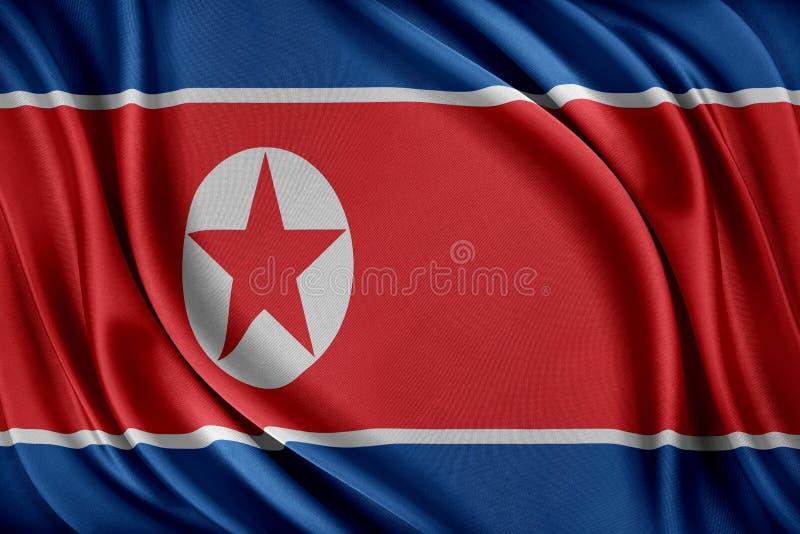 Korea norr flagga Flagga med en glansig siden- textur royaltyfri illustrationer